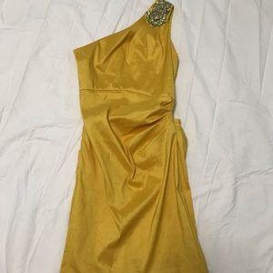 Badgley Mischka couture yellow rhinestone dress-2